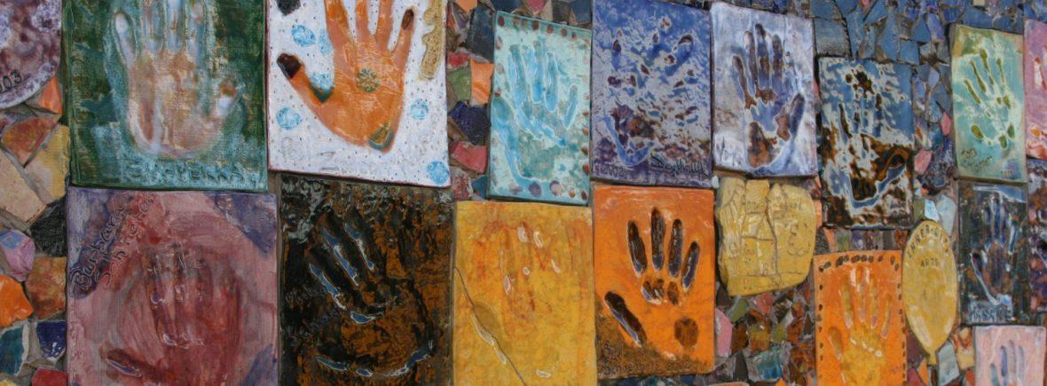 cropped tiled hands